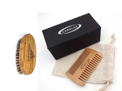 2017 Manufacture Beard Brush and Comb Set - Bamboo - 100% Genuine Boar Bristles - Bamboo Hair Brush Comb - Travel Bag included
